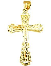 メンズ10 K黄色ゴールドダイヤモンドカットクロスペンダント十字架チャーム