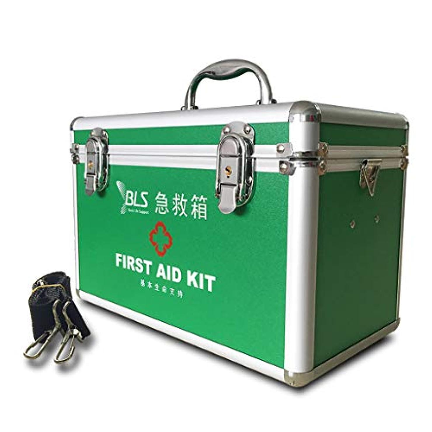 風刺メタルラインミニチュア携帯用大型薬箱、医療用収納キット、施錠可能、薬収納ボックス(31 * 17 * 20CM)