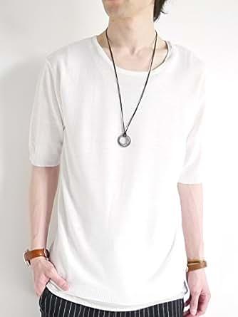 (モノマート) MONO-MART パネルボーダー サマーニット 夏ニット 半袖 カットソー リゾート 色 Uネック メンズ 夏 ホワイト Lサイズ