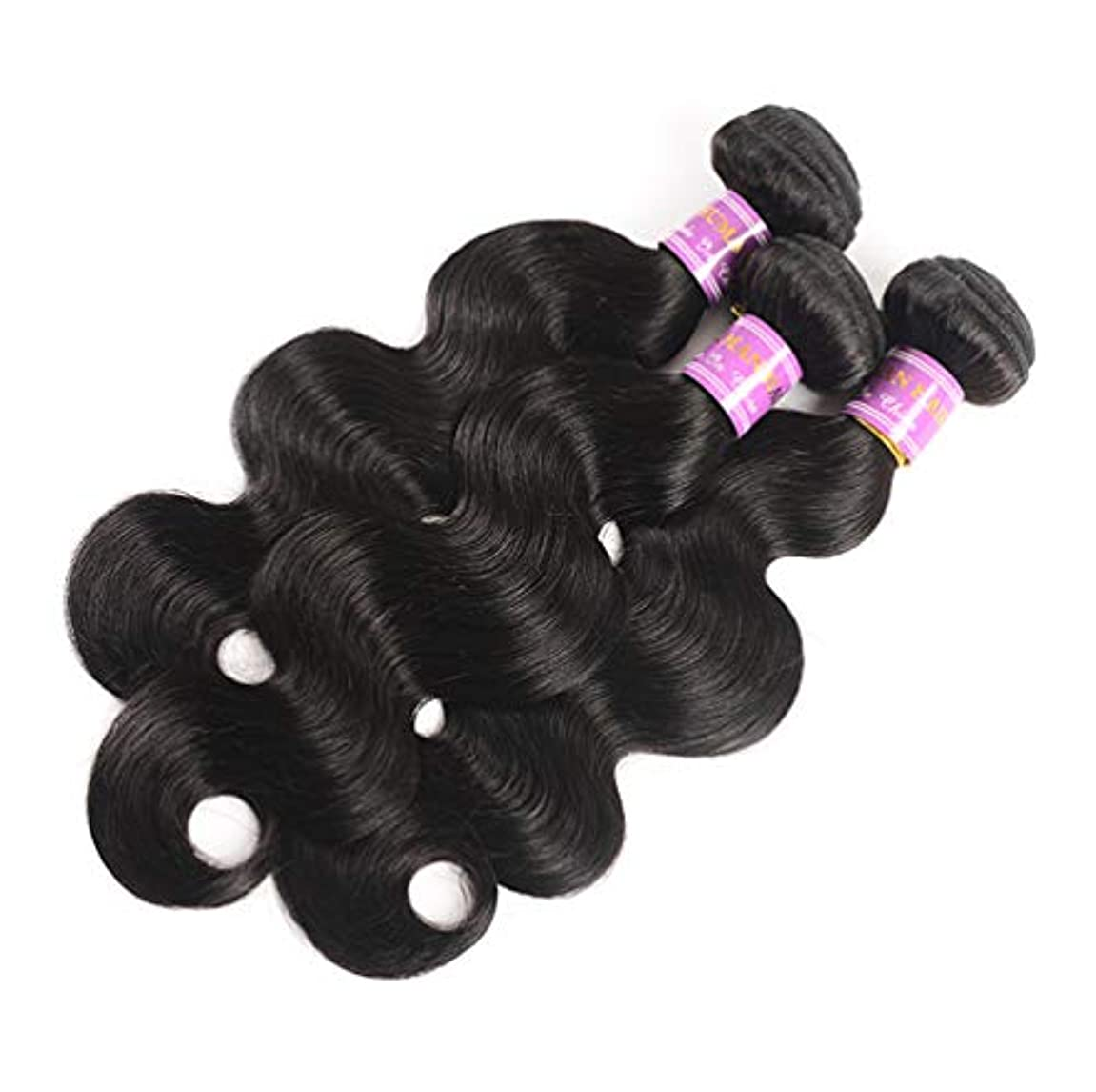 通知する情報狐10Aブラジルの天然水波バージン毛織り3バンドル100%加工されていない人間の毛髪延長自然色95-100 g/pc