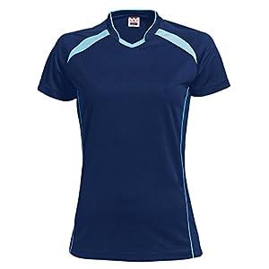 wundou(ウンドウ) ウィメンズ バレーボールシャツ 吸汗 速乾 ネイビーXサックス P1620 ネイビーXサックス XL