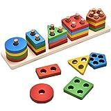 KanCai 木製 知育形状 色認識 幾何学ボード ブロック 積み重ね 分厚いパズル おもちゃ 誕生日ギフト 3歳 4歳 5歳