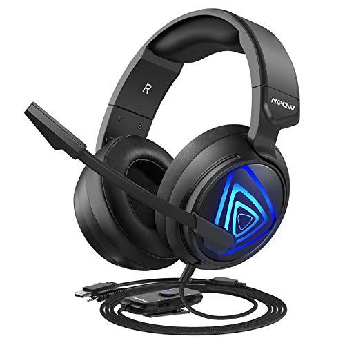 Mpow EG8 ゲーミングヘッドセット PS4 高音質 3.5mm+USB接続 5.1サラウンド サウンド 軽量 ノイズキャンセルマイク付き インラインコントロール付き 50MMドライバー 有線 ゲーム用 PC/PS4/PS4 Pro/PS4 Slim/MAC OS対応 ヘッドフォン ブラック