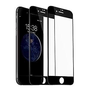 【日本製素材旭硝子】液晶保護フィルムiPhone8 ガラスフィルム iPhone8 フィルム iPhone8/Phone7 全面フルカバー 炭素繊維 ホワイト3D曲面 高鮮明 高硬度9H 0.2mm超薄型耐衝撃 飛散防止 防爆裂スクラッチ防止 保護シート 専用ガラス アイフォン8 強化ガラスフィルム【2枚セット】 (iPhone8, ブラック)