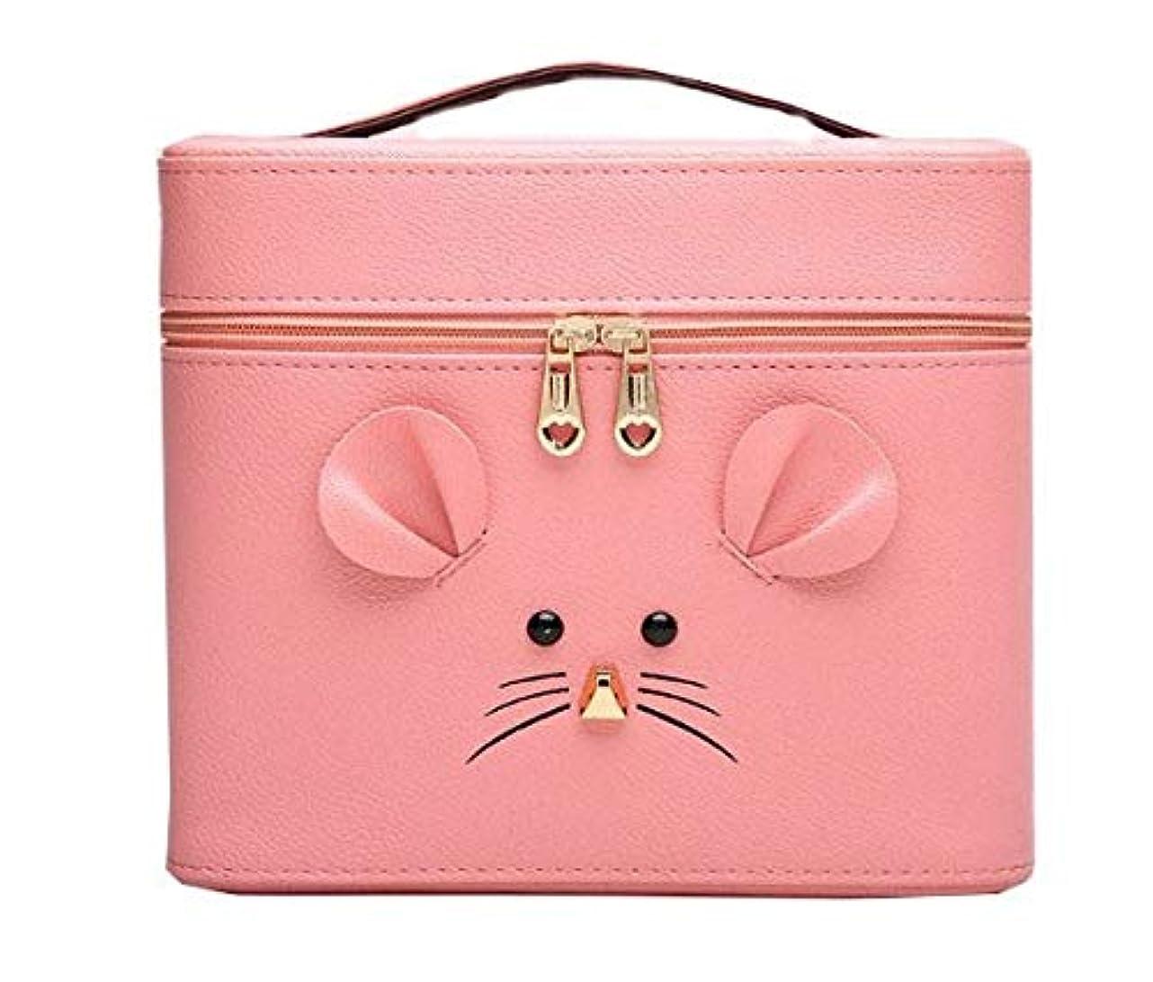 風刺胃欲求不満化粧箱、ピンクの漫画のマウスの化粧箱、携帯用旅行化粧品の箱、美の釘の宝石類の収納箱 (Size : L)