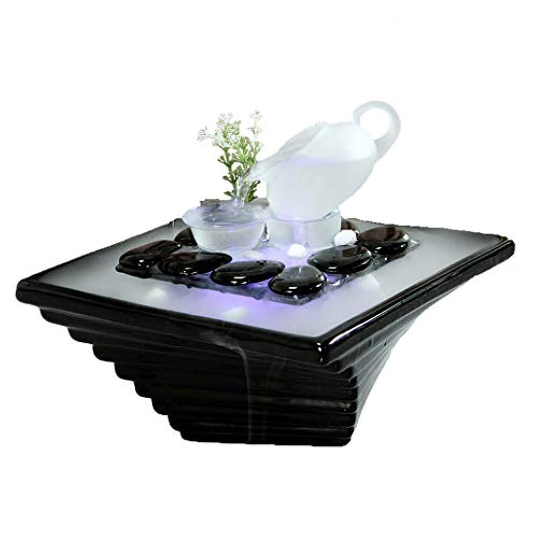 郵便屋さん支援する楕円形エッセンシャルオイルディフューザー空気加湿器セラミッククラフトクリエイティブホームデスクトップ装飾アロマセラピー絶妙なギフト,Black