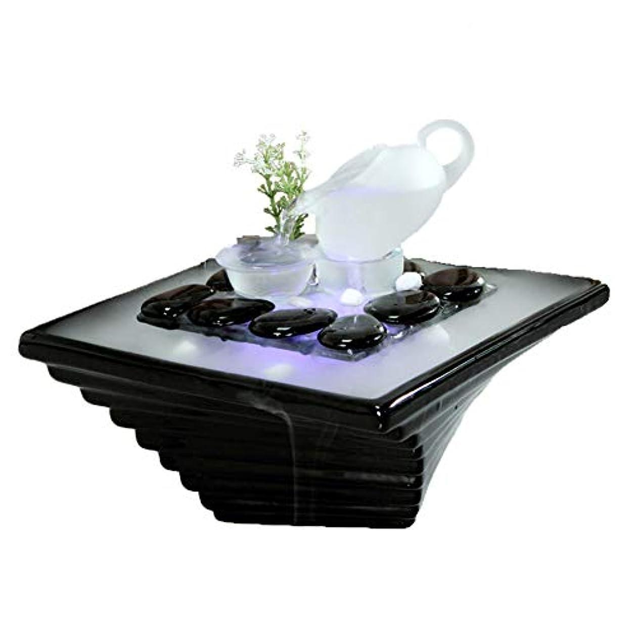 ヒューム赤字複合エッセンシャルオイルディフューザー空気加湿器セラミッククラフトクリエイティブホームデスクトップ装飾アロマセラピー絶妙なギフト,Black