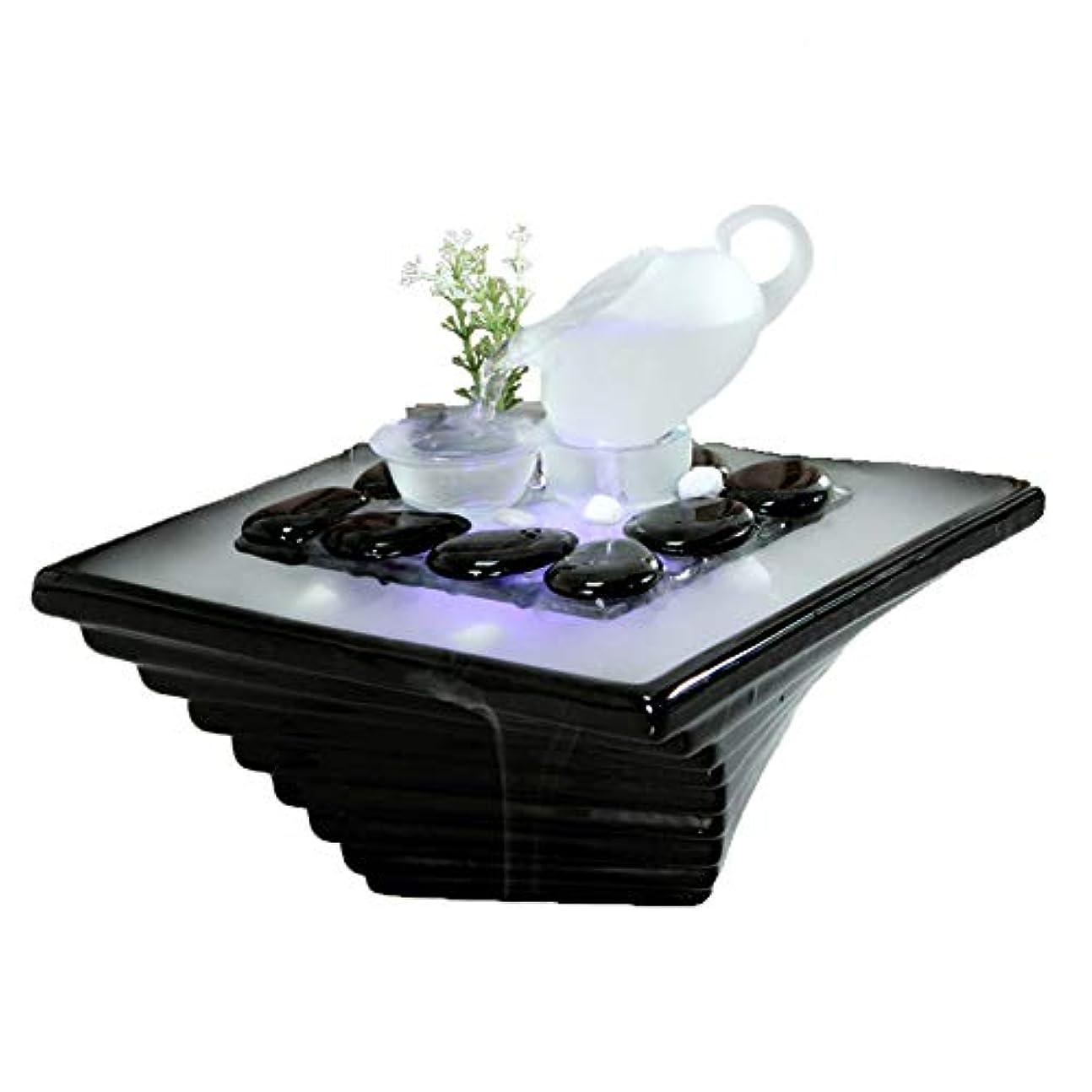 おいしい暫定浸漬エッセンシャルオイルディフューザー空気加湿器セラミッククラフトクリエイティブホームデスクトップ装飾アロマセラピー絶妙なギフト,Black