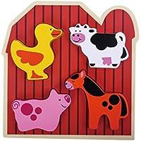 TookyToy レース&ビーズ糸通しおもちゃ ユニーク 木製 農場の動物 幼児向け 知育玩具 就学前幼児 男の子/女の子 レッド 43225-5300