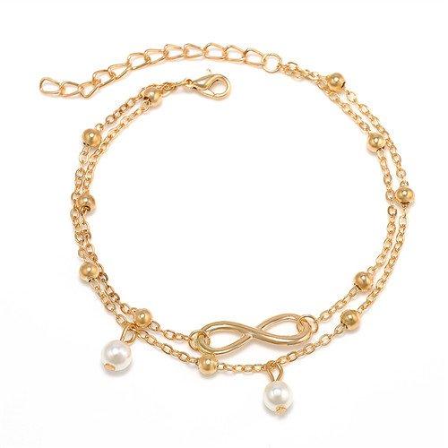 [해외]ARMA 진주 여자 구두 여성 실버 골드 금은 2 연속 체인 20cm 조정자 5cm 진주 발목 장식 (골드)/ARMA pearl anklet ladies silver gold gold silver 2 chain chains 20 cm with adjuster 5 cm pearl anklet (gold)