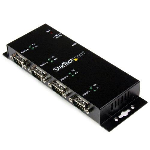 StarTech ウォールマウント型産業用 USB - 4ポートRS232Cシリアル変換ハブ DINレールクリップ付き ICUSB2324I 1個