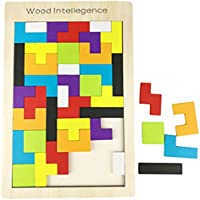 Naovio Wooden Tetris Puzzle Wood Tangram Jigsaw Bricks Toy for Kids Tetris Brick Toy Set Educational Game Toy for Children
