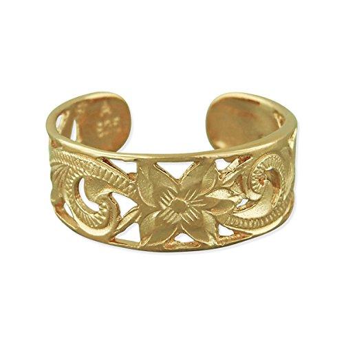 [ハワイアン シルバー ジュエリー] Hawaiian Silver Jewelry 透かし彫り プルメリア 模様 トゥリング イエローゴールド トーン シルバー925 [インポート]