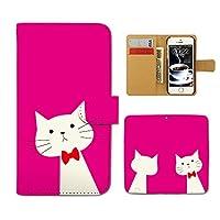 スマホケース 手帳型 KYV31 URBANO V01 ねこ 手帳 ケース カバー 猫 ネコ ねこ 髭 リボン D0216040072402