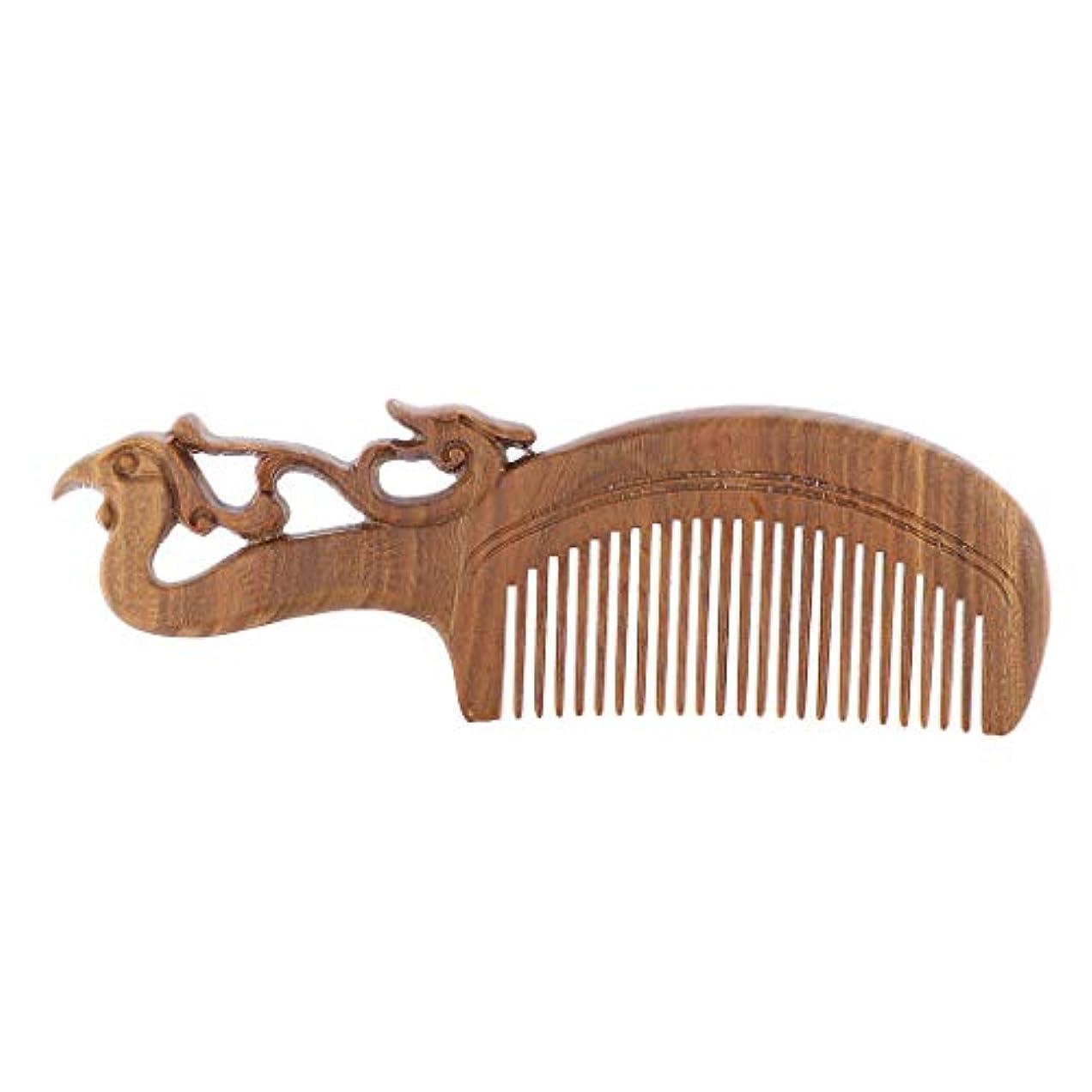 キー韓国用量手作り 木製櫛 ヘアブラシ ヘアコーム 頭皮マッサージ レトロ 4タイプ選べ - 17 x 5.5 x 1.2 cm