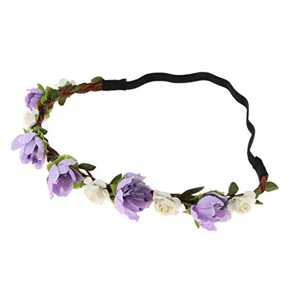ほんの読書賠償フラワークラウン ヘアバンド 花嫁 結婚式 写真小物 ドレス 5色選べ - 紫