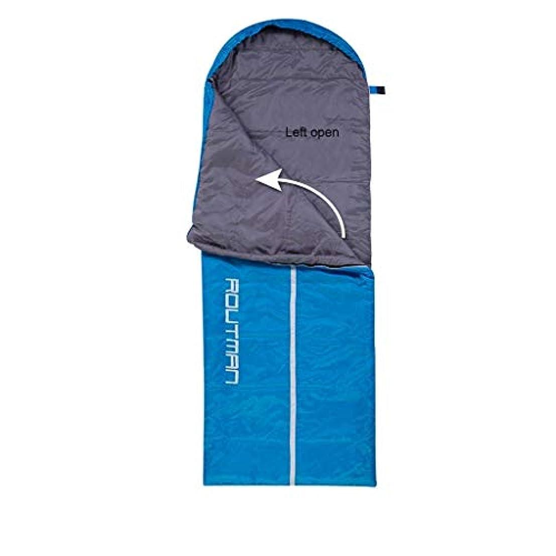 最終的に忠実な伸ばす大人のキャンプの寝袋フード付き防水ライト暖かい2-3シーズン寝台用旅行ハイキング屋内野外活動ブルーオレンジグリーン (色 : Blue B)