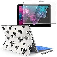 Surface pro6 pro2017 pro4 専用スキンシール ガラスフィルム セット 液晶保護 フィルム ステッカー アクセサリー 保護 ダイヤ マーク 白 010436