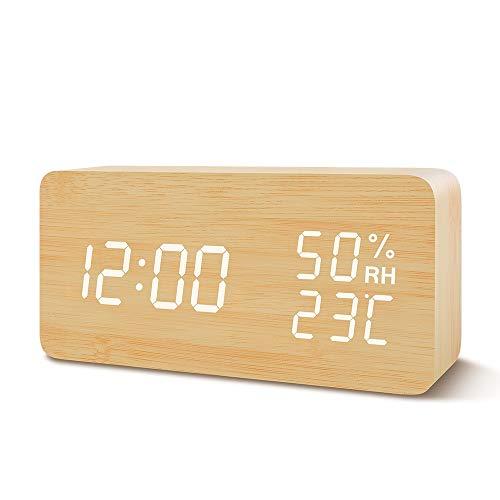 Suncree 目覚まし時計 置き時計 デジタル LED アラーム 多機能 木目調 温度湿度 カレンダー 音声感知 明るさ調節可 USB給電 卓上時計
