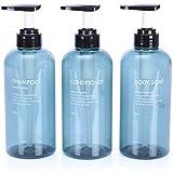 500ML Empty Plastic Bottles Refillable Press Bottles Shampoo Dispenser with Top Flip Cap for Lotions Liquid Blue 3 Pcs