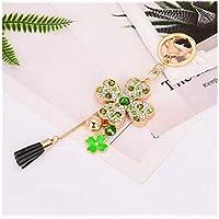 FenBuGu-JPFenBuGu-JP レディースガールズデコレーション(グリーン)4葉クローバーダイヤモンドキーホルダーハンドバッグペンダントカーキーリング