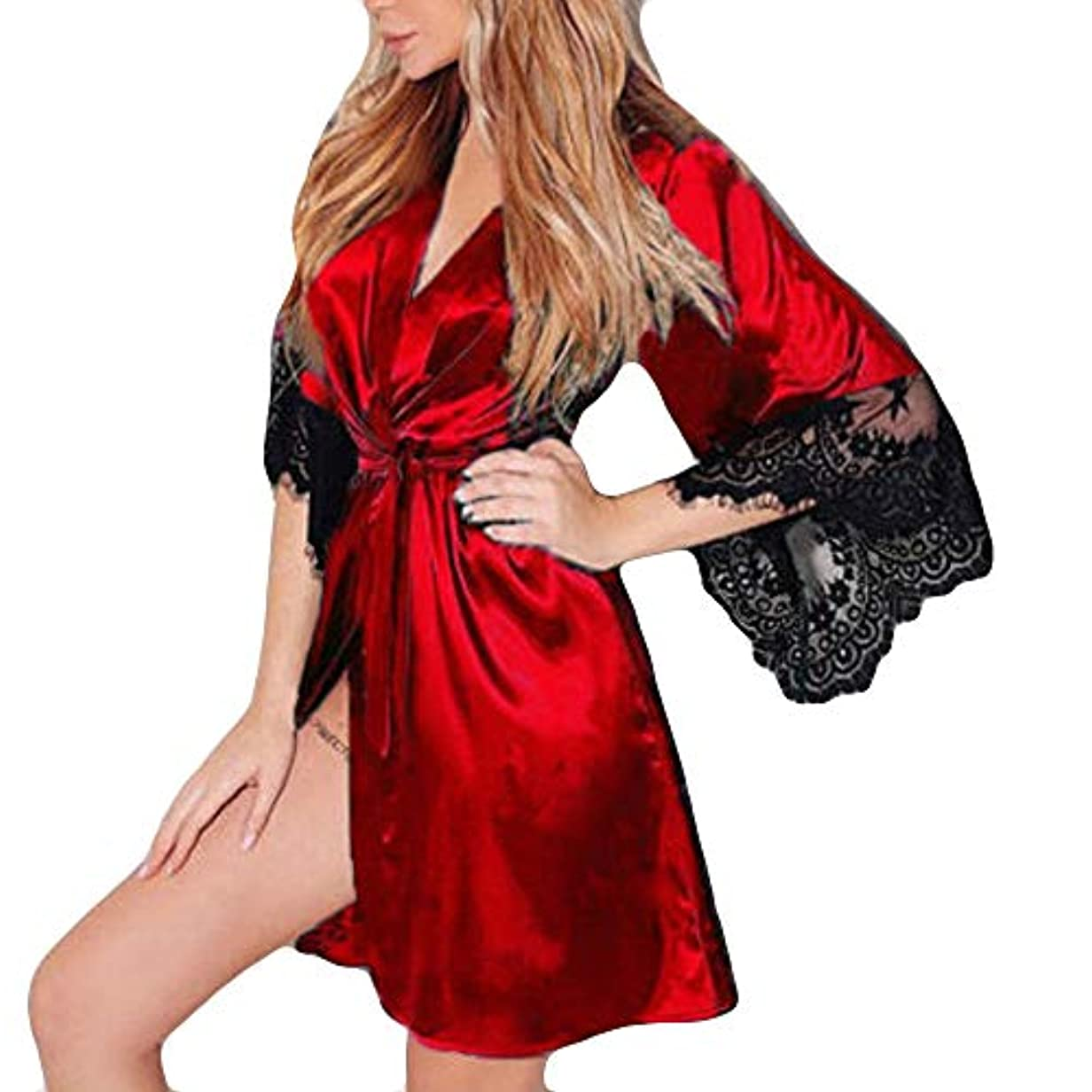 うそつき恐れそのJoielmal 女性用バスローブ ガウンバスローブ ローブ 浴衣式 ワンピース 前開き サテン生地 シルクのような肌触り おしゃれ 長袖 ロング丈 着物 レース飾り ワンサイズ 春 夏 S-3XL