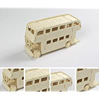 HuaQingPiJu-JP 創造的な木製の3Dパズルアーリーラーニングの形状透明なツール子供のためのおもちゃのファンタスティックギフト(バス)