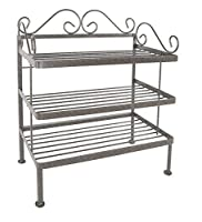 Grace 243SR-BR Wrought Iron Shoe Rack, 24% ダブルクォーテ%, Brown [並行輸入品]