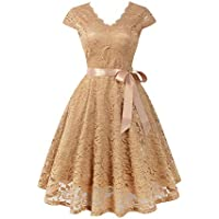 Lovenjoy Women's Vintage Floral Short Lace Dress V-Neck Cap Sleeve Bridesmaid Party Cocktail Dresses