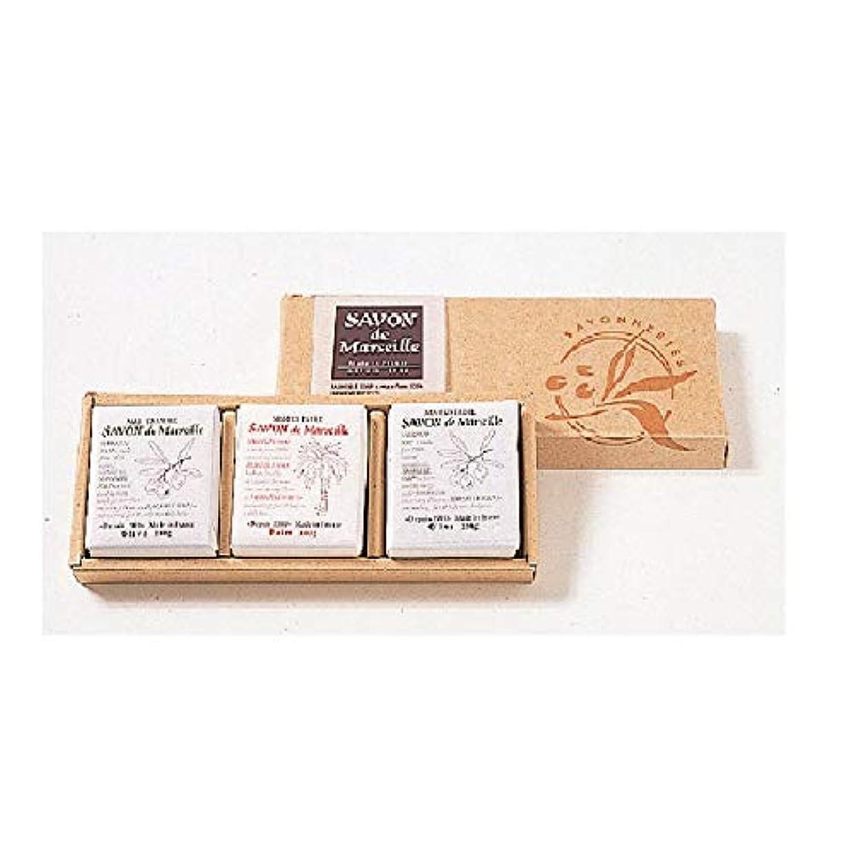 受粉する意識的コンサルタントサボンドマルセイユ無香料ギフトセット3個入り