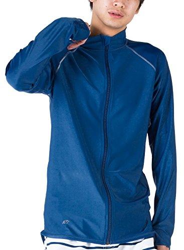 PONTAPES(ポンタペス) 全20色柄 メンズ レディース ラッシュガード フードなし フルジップ シャツ PR-4300 NVY-MS XLサイズ 長袖 UVカット UPF50 + 指穴つき 水着 ジップアップ おしゃれ 人気 ネイビー 藍色