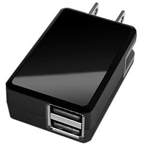 LUMEN 出力自動調整機能搭載 USB - AC 急速充電器 2.4A 2ポート 極小 折りたたみ式プラグ対応 ブラック LSC-2.4A2P-B