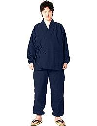 [キョウエツ] 作務衣 冬用 中綿入り 紬風生地 フリース裏地 16 メンズ