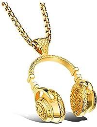 Couple's Stainless Steel Music Headset DJ Hip Hop Wireless Earphone Headphone Pendant Necklace