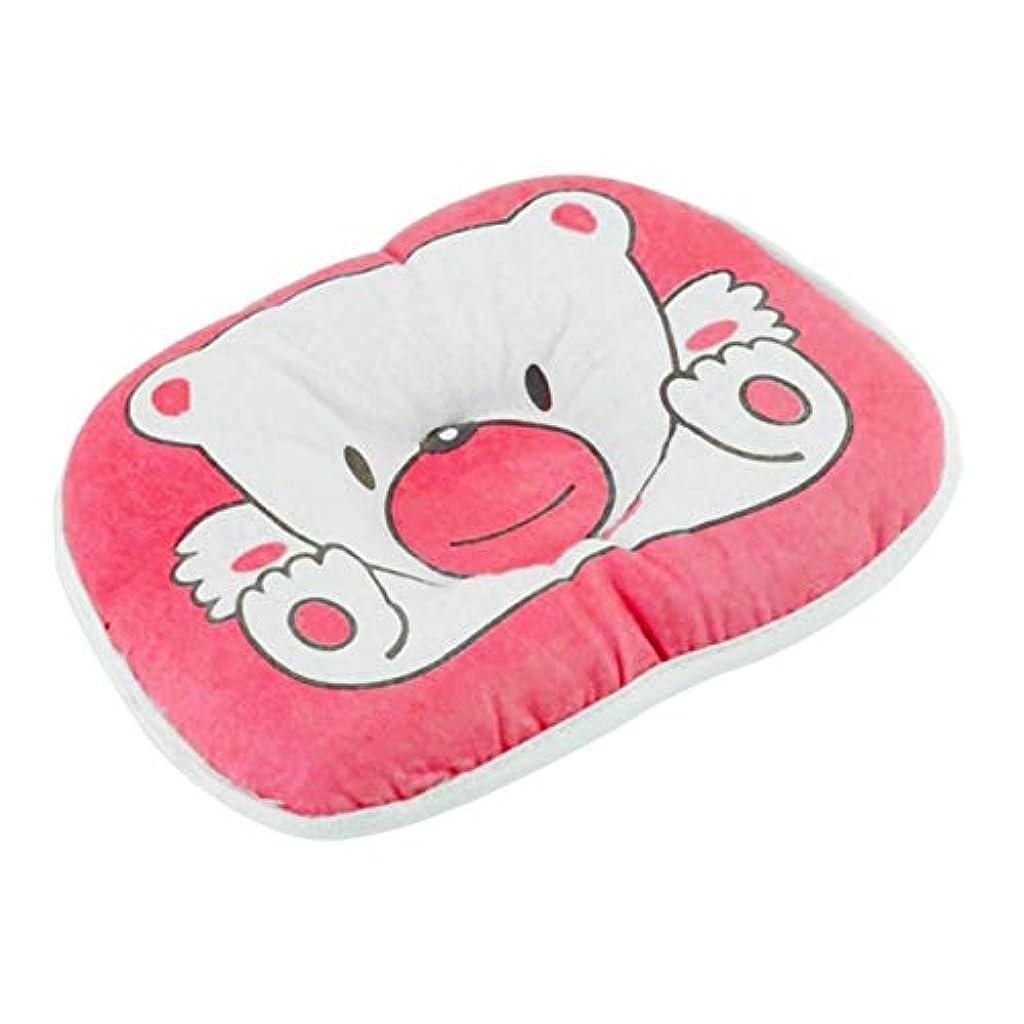 元気な首相謙虚Saikogoods ラブリーかわいいクマ漫画パターン枕新生児幼児ベビーサポートクッションパッド防止フラットヘッドコットン枕用ベビー ピンク