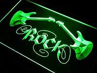 ADVPRO Guitar Rock n Roll LED看板 ネオンプレート サイン 標識 Green 400 x 300mm st4s43-i047-g