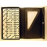 "Double Six Jumbo Dominoes-(8.5"" x 5"") Set of 28-Black Case/Ivory Tiles"