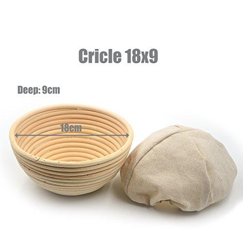Angelakerry 籐製醗酵カゴ パン作りの小道具 バヌトン カンパーニュ作り 18x9cm 1個セット  [並行輸入品]