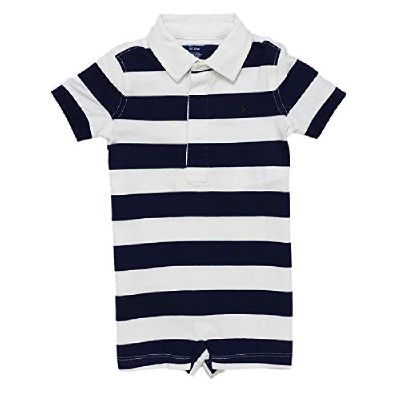 (ラルフローレン)RALPH LAUREN ベビー 男の子 半袖 ショートオール Striped Cotton Rugby Shortall サマーネイビー/ホワイト Summer Navy/White (12M) [並行輸入品]