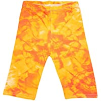 Kids Girls Cycling Short Tie Dye Print Orange Summer Short Knee Length Half Pant