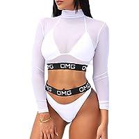 leveltech Women Floral Long Sleeve Tie Side 2-Pieces Swimsuit Bathing Suit Swimwear