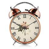 静穏@ブロンズヴィンテージDouble Bell Ironサイレントクロック機構とバックライト付きアラーム時計クラフトテーブルクロックホーム装飾 ブラック 8321337853513