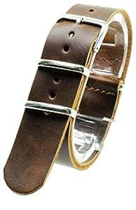 [2PiS] ( ダークブラウン : 20mm ) NATO 腕時計ベルト 合皮レザー 替えバンド ストラップ 交換マニュアル付 18-1-20