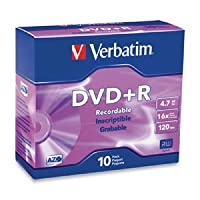 Verbatim DVD + Rメディア16x 4.7GB 10-pkブランドスリムケース