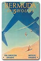 22cm x 30cmヴィンテージハワイアンティンサイン - 5時間でバミューダ - パン・アメリカン航空(PAA) - インペリアル航空 - ビンテージな航空会社のポスター によって作成された ポール・ジョージ・ローラー c.1937