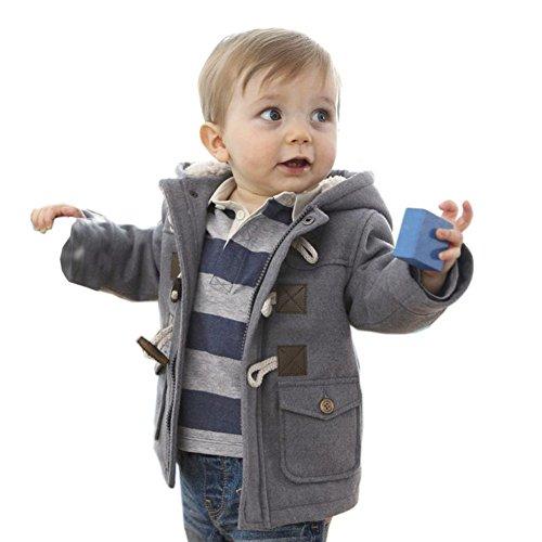MyMei かわいい 無地 ダッフルコート 子供 キッズ ベビー服 綿服 アウター ジャケット フード付き フォーマル 秋冬 防寒  (80CM, グレー)