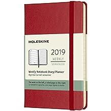 2019 Moleskine Notebook Scarlet Red Pocket Weekly 12-month Diary Hard