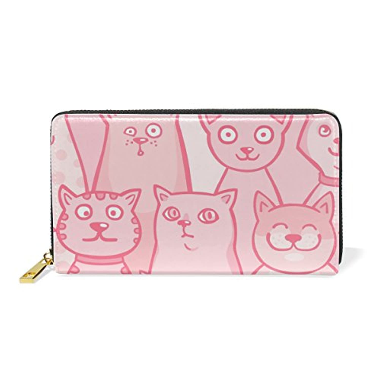 Mikyu(ミクョ)長財布 おしゃれ 本革 大容量 レディース ネコ 猫 かわいい ピンク 財布 小銭入れ コインケース ウォレット メンズ ファッション お洒落 ファスナー 10代 20代 プレゼント