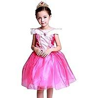 (eones)オーロラドレス プリンセスドレス コスプレ しっかり3層構造 ふんわり 子供用 ミニドレス ティアラ セット(130)