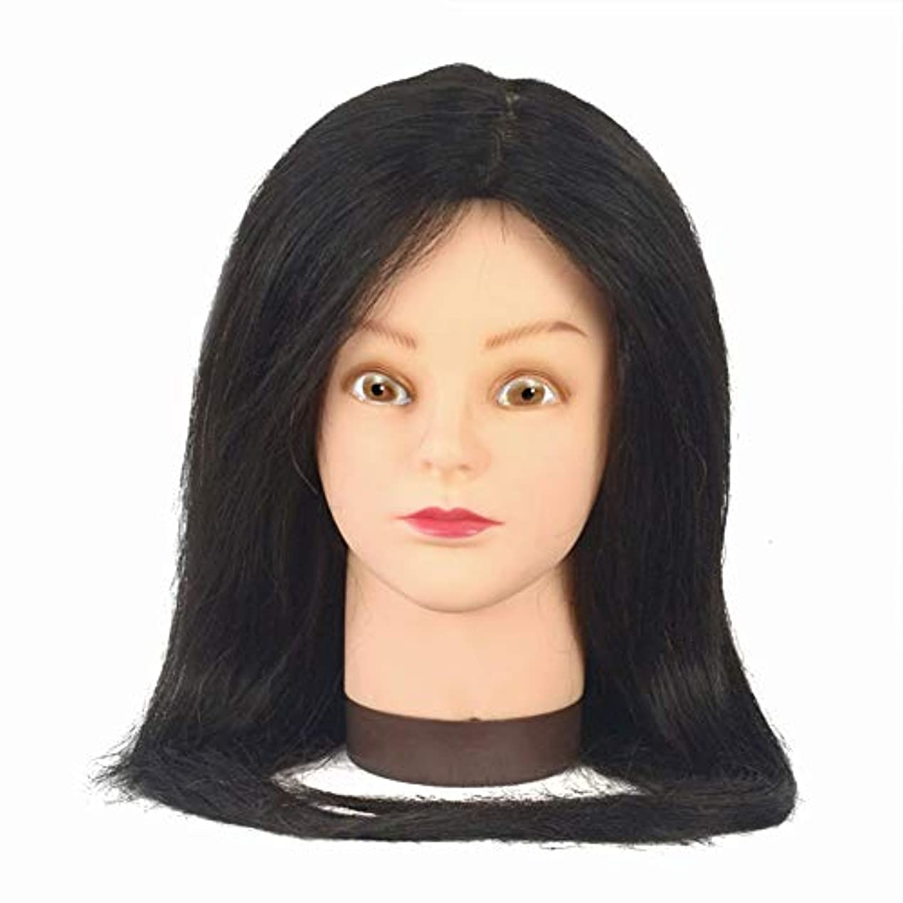 シャーク打倒対80%リアル人間の髪モデルヘッドサロン学習吹くことができますパーマ髪染めダミーヘッド編集ヘア練習ヘッドモデル,Black